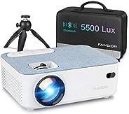 Proyector, Mini Proyector Portátil FANGOR Video proyector Cine en casa 5500 lúmene Soporte 1080P Bluetooth pro