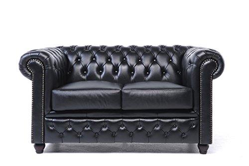Original Chesterfield Sofa – 2 Sitzer – Vollständig Handgewaschenes Leder – Schwarz
