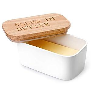 Sweese 303.214 Butterdose Porzellan für 250 g Butter, Holzdeckel mit...