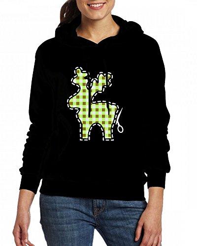 A plaid reindeer to cut Womens Hoodie Fleece Custom Sweartshirts Black