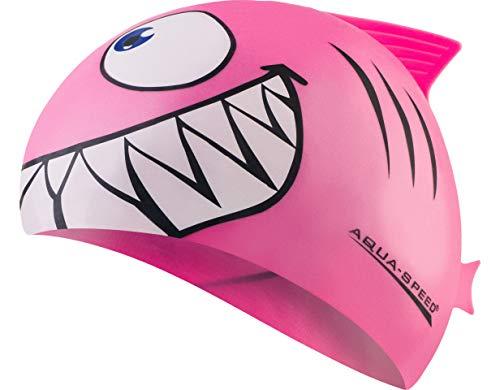 Aquaspeed Shark Kinder Bademütze Hai Badekappe, Modell [A]:Shark/rosa 03