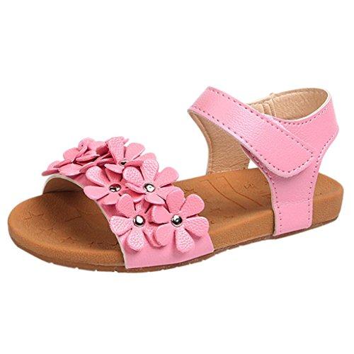 OHQ Sandales de Plage pour Filles Rose Blanc Toddler Baby Girl Floral Sole Enfants Princesse Chaussures Parapluie BéBé Fille Dans Et Sacs Garcon Mariage (20, Rose)