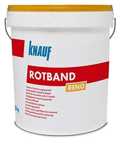 Knauf Rotband Reno Renovierspachtel 20kg - Dünnlagiges Verputzen von ebenen Untergründen - Scheibenputz Rillenputz Gipsputz