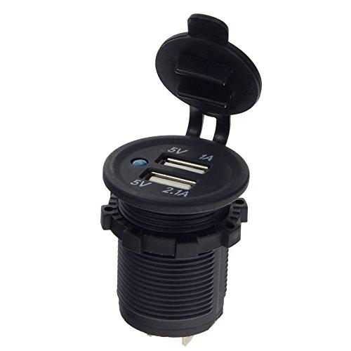 Smartfox 12V Auto Kfz Dual USB Buchse Adapter Ladegerät Einbau Steckdose mit 2 USB 5V Anschlüssen in schwarz - 5v 1a Dual-usb -