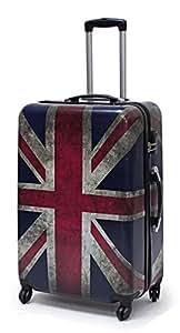 Bowatex Valise à roulettes et coque rigide en carbone/polycarbonate Motif drapeau du Royaume-Uni Taille L