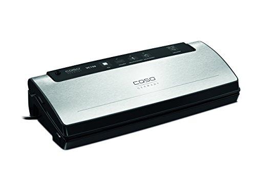 CASO VC150 Vakuumierer - Vakuumiergerät, Lebensmittel bleiben bis zu 8x länger frisch - natürliche Aufbewahrung ohne Konservierungsstoffe, Gehäuse mit wertiger Edelstahfront, doppelte Schweißnaht 30cm, inkl. 10 Profi-Folienbeutel und Schlauch für Vakuumbehälter