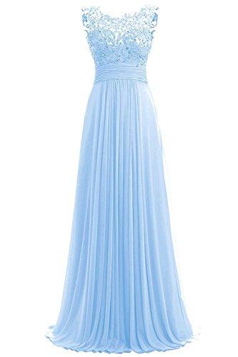 Carnivalprom Damen Chiffon Abendkleider Lange Elegant Hochzeitskleid Spitze Cocktailkleider(Gold,52)