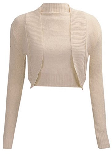 NEW LADIES PLAIN LONG SLEEVE KNITTED BOLERO WOMENS SHRUG CARDIGAN TOP Stone