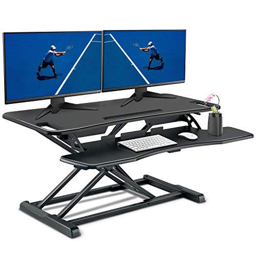 PUTORSEN® Steh-Sitz Schreibtisch Sit-Stand Workstation Höhenverstellbarer Schreibtisch-Aufsatz Mit Integrierter Gasfeder, Schreibtischaufsatz Steharbeitsplatz Standtisch - Tabletop Stehpult Konverter