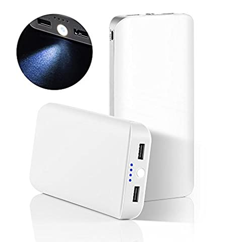 GRDE® 25000mAh Ultra High Capacity 2 USB Port Portable Charger Power Bank ,External Battery Backup Pack with a Flashlight for iPhone,iPad,Samsung,HTC,LG,Nexus,Most other Phones & Tablets (White - Grey)