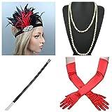 thematys® Gangster Mafiosa Set + Diadema + Collar + Guantes + Porta Cigarrillos - Conjunto de Disfraces para Mujer de 20 años Carnaval (6)