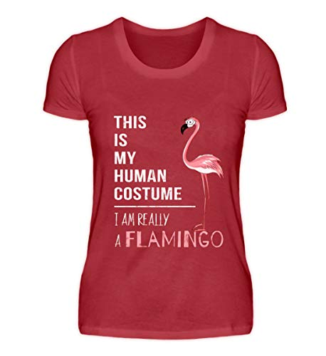 Kostüm Kardinal Vogel - My Human Costume, I'm Really a Flamingo - lustig für Liebhaber von pinken Comic-Flamingos - Damen Organic Shirt -XL-Kardinal Red