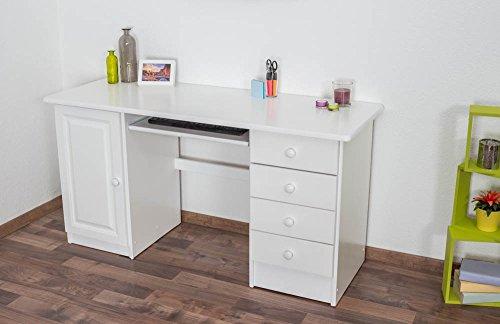 Schreibtisch Kiefer massiv Vollholz weiß lackiert 003 - Abmessung 74 x 145 x 55 (H x B x T)
