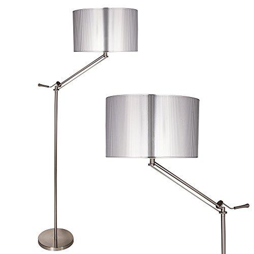 [lux.pro] Stehleuchte Stehlampe (1 x E27 Sockel)(165 cm x 45 cm) Wohnzimmerlampe Leuchte Standleuchte - silber