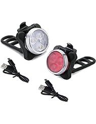 Fitsund Wiederaufladbare LED Fahrradlicht Wasserdichte 4 Licht-Modi Fahrradlampe Set ( 2 Lampen & 2 USB-Kabel )
