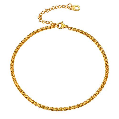 �nner Frauen Klassische Weizenkette Fußband 23cm 18k vergoldet 3mm breit Fußkettchen Simpel Stil Sommer Mode Strand Fußschmuck ()