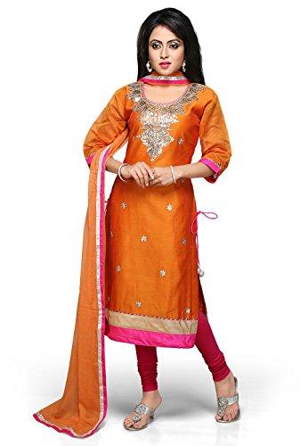 Utsav Fashion Gota Patti Embroidered Straight Cut Suit in Orange Colour