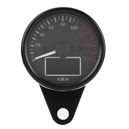 BiuZi Motorrad Tacho Universal 0~160KM / H Motorrad GPS Digital LED LCD Tacho 12V Tachometer Geschwindigkeitsmesser Retro Schwarz