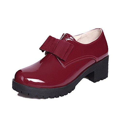Cuoio Scarpe Voguezone009 Vino Tondo Al Tallone Donna Destro Rosso Solido Leggero Colore Tira zdqvvfW0