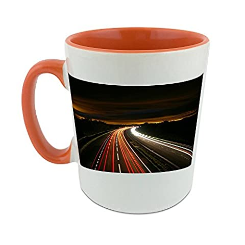 Mug with orange coat inside ofHighway, Night, Traffic, Light, Motion