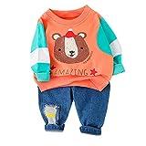 Livoral Kleinkind Baby Kinder Jungen Cartoon Bär Pullover T-Shirt Sweatshirt Tops Hosen Set(#2 Orange,1-2 Jahre)