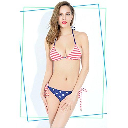 Donna Bikini Costume Da Bagno Set USA bandiera Push Up imbottito Costume da bagno, cavezza Eck Bikini Beachwear costumi da bagno, blu/rosso, S