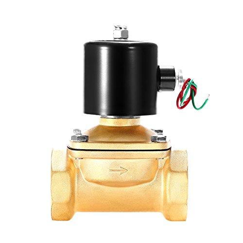 BananaB Messing Elektrisches Magnetventil 50.8mm BSP 220V Wechselstrom-Wasser-Magnetventil Normalerweise geschlossenes Magnetventil für Wasser-Luft-Gas (2 Inch)