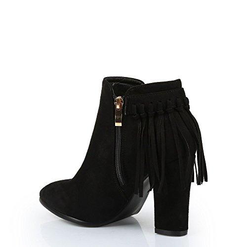 Ideal Shoes–Scarponcini effetto camoscio con frange Eleana Nero