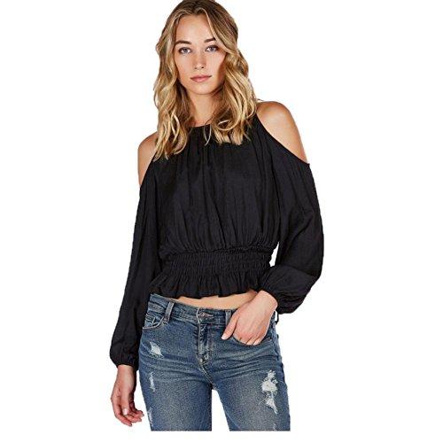 camicetta casuale per le donne, FEITONG donne camicia intorno al collo senza spalline breve paragrafo lungo manicotto (Nero, XL)