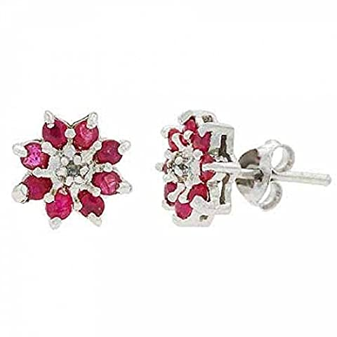 Sterling Silver Genuine Diamond Accent and Ruby Stone Flower