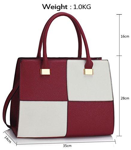 LeahWard® Damen Designer Tragetaschen Damen Celeb Style nett Schulter Handtaschen 111 Burgundy/Weiß Tote (35.5x14x28cm)