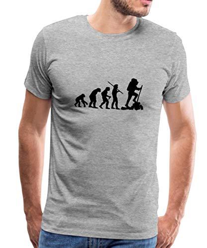 Spreadshirt Evolution Wandern Bergsteiger Wanderer Männer Premium T-Shirt, M, Grau meliert -