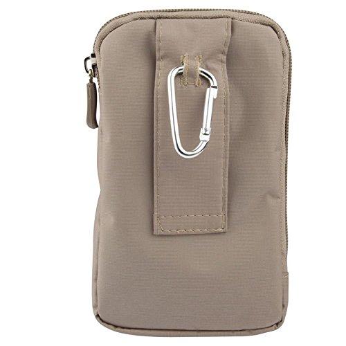 DFV mobile - Multi-functional Universal Vertical Stripes Pouch Bag Case Zipper Closing Carabiner for =>                     APPLE IPHONE 8 [4,7] > BEIGE (16 x 9.5 cm) BEIGE (16 x 9.5 cm)