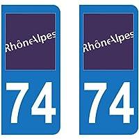 Paire Sticker immatriculation 74 - Haute Savoie