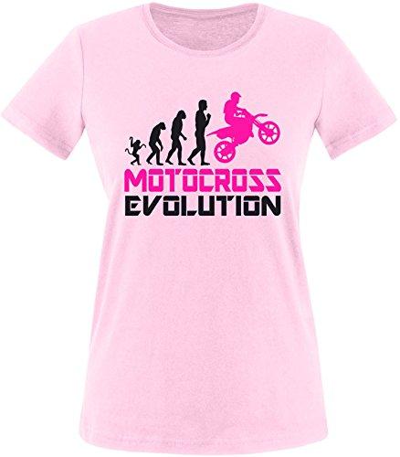 EZYshirt® Motorcross Evolution Damen Rundhals T-Shirt Rosa/Schwarz/Pink