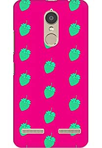 AMEZ designer printed 3d premium high quality back case cover printed hard case cover for Lenovo K6 Power (green pink strawberries )