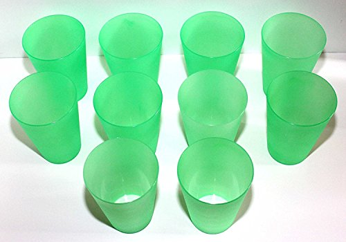 10 Plastik Trinkbecher 0,4 l - grün - Mehrwegtrinkbecher / Partybecher / Becher