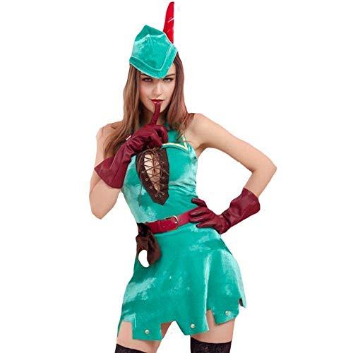 Fashion-Cos1 Frau Wald jäger Outfit cosplays weibliche Halloween Hexe kostüme Karneval Maskerade Nachtclub Rollenspiel Party Dress (Frau Alte Kostüm Make-up)
