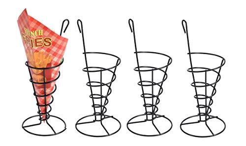 Spetebo 4X Pommeshalter + 20 Pommes Tüten - Fingerfood Halter schwarz - Snack Ständer