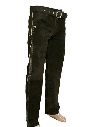 Trachten Lederhose lang inklusive Gürtel in braun farbe Echt Leder Trachtenlederhosen Gr. 46-62 (taillenmaß stehen im beschreibung) (48, Braun)