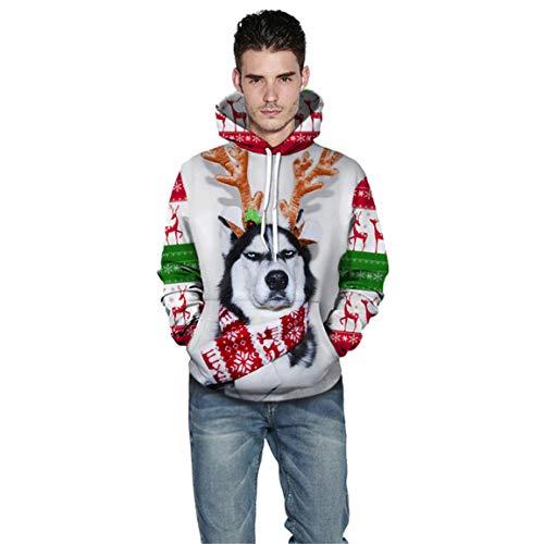 Männer Langarm Hoodies Mann Männlich Weihnachten Sweatshirt Mode 3D Gedruckt Pullover Langarm Mit Kapuze Tops Bluse Moonuy