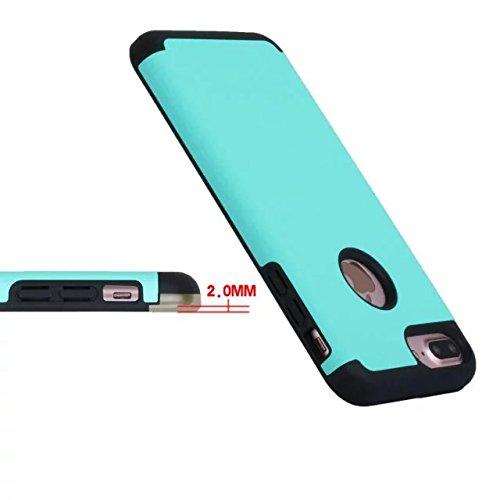 iPhone 7 Plus Coque,Lantier Slim Frosted Matte Finish design antichoc 2 en 1 Combo Protection Defender Cover Retour Coque pour Apple iPhone 7 Plus 5,5 pouces Mint Green+Gris Mint Green+Black