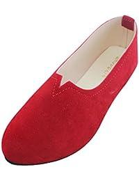 Damen Slip on Flache Schuhe Sandalen Casual Ballerina Schuhe mit Obere V Chic und Mode
