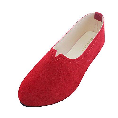 Zapatos Planos Mujer Bailarinas Básicas de Piel Sintética Moda y Elegancia,Rojo,EU 35