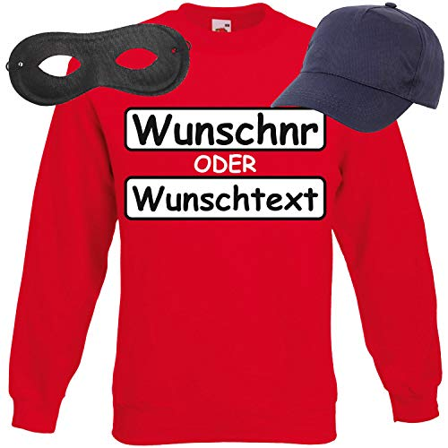 Shirt-Panda Unisex Sweatshirt Panzerknacker Kostüm + Cap + Maske + Handschuhe Verkleidung Karneval SET14 Sweater/WN/Cap/Maske M