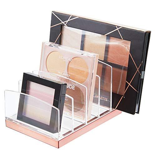 mDesign Kosmetik Organizer aus Kunststoff - Schminkaufbewahrung mit 5 Steckplätzen - Aufbewahrungsbox für den Waschtisch, Schminktisch oder Schrank - durchsichtig und rotgold