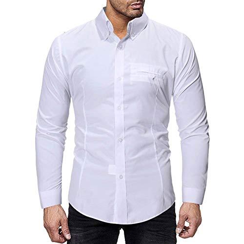 Cebbay Clearance Shirt Long Sleeve Man Polo Shirt Casual Classic Buckle Slim Shirt Western Style Stylish Tops Autumn Winter (White, EU Size L = Tag XL)