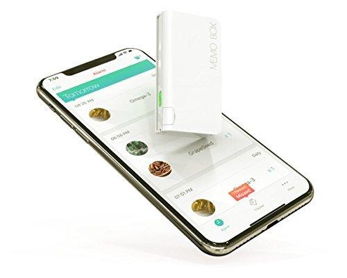 Memo Box Mini-Der Smart Pillendose für Android und IOS (Baumwolle weiß) -