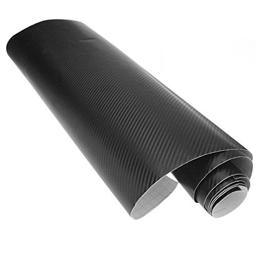 60cm x 2m 3d de Vinilo de fibra de carbono Wrap rollo de película AUTO CAR Home papel pintado Negro