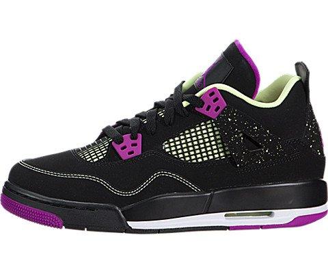 Nike Mädchen Air Jordan 4 Retro 30Th GG Laufschuhe, Schwarz/Rosa/Weiß (Schwarz/Fuchsia-Flash-Rfl Lm-Wht), 38 1/2 EU -